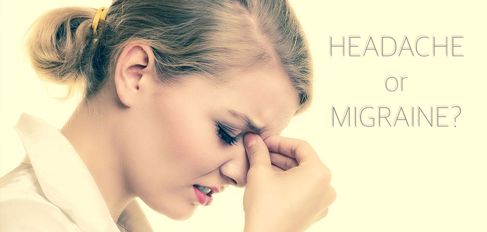 image of woman with migraine headache